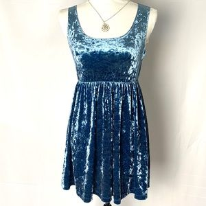🦋HP🦋American Apparel Crushed Velvet Blue Dress S